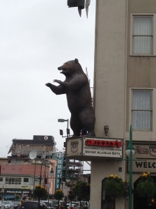 Bear statue on shopfront, Anchorage